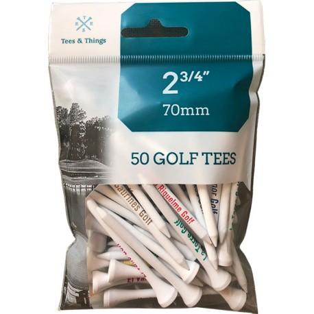 5 bolsas de 25 tees de madera de 70mm